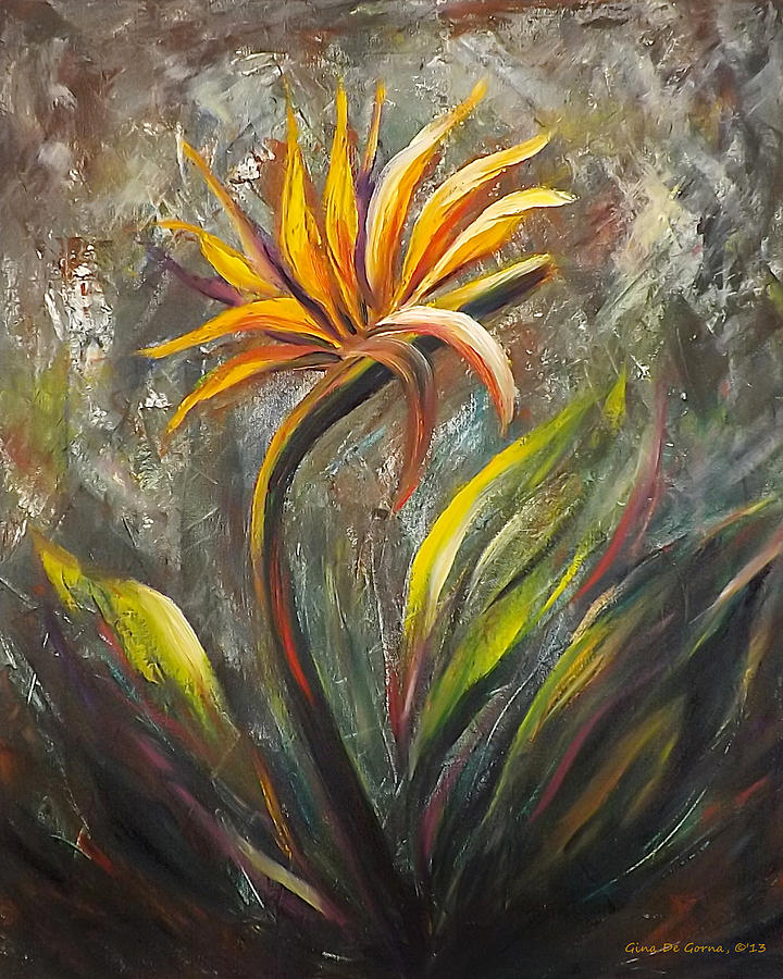 Florals Painting - Bird Of Paradise 63 by Gina De Gorna