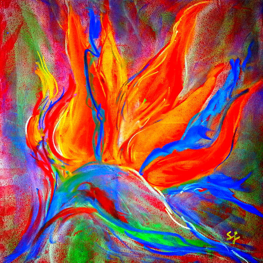 Bird Of Paradise Flower Painting By Sue Jacobi