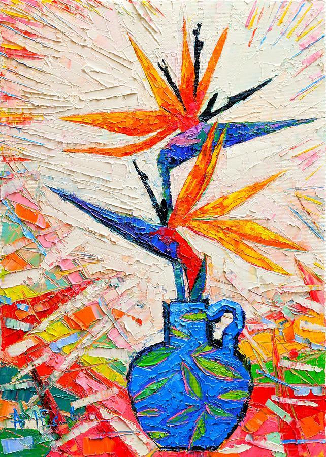 Bird Painting - Bird Of Paradise Flowers by Ana Maria Edulescu