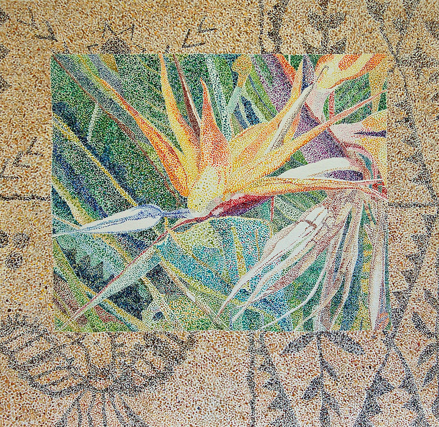 Bird Of Paradise Painting - Bird Of Paradise With Tapa Cloth by Terry Holliday