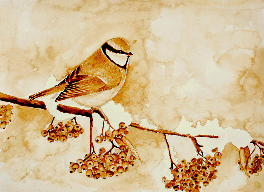 Bird on branch coffee painting painting by mariana lazarciuc for Painting with coffee
