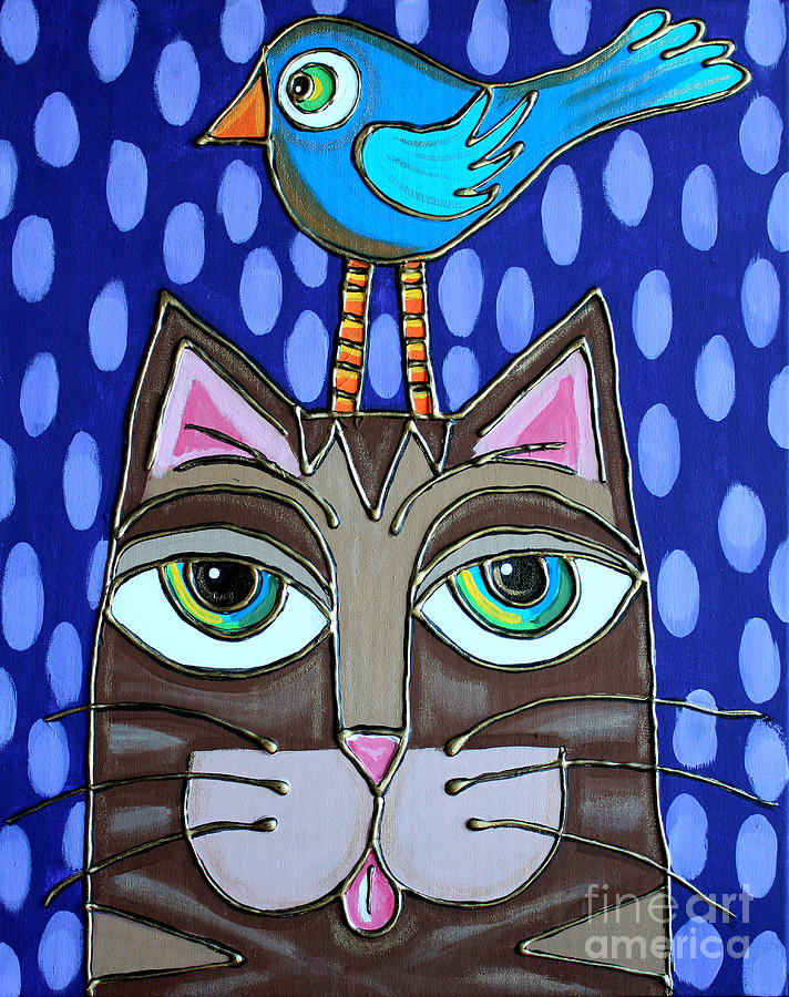 Cat Painting - Bird On Top by Cynthia Snyder
