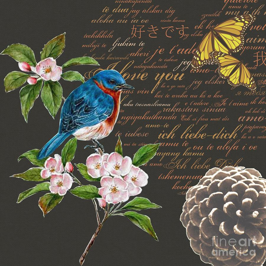 Bird Painting Collage Butterfly Flower Digital Art by Art ...