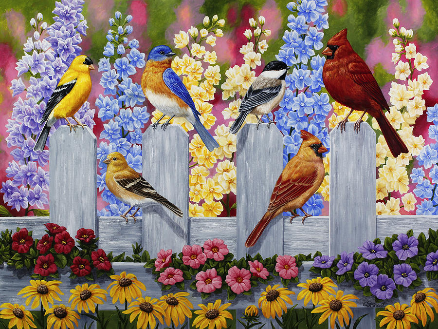 Bird painting spring garden party painting by crista forest for Garden painting images