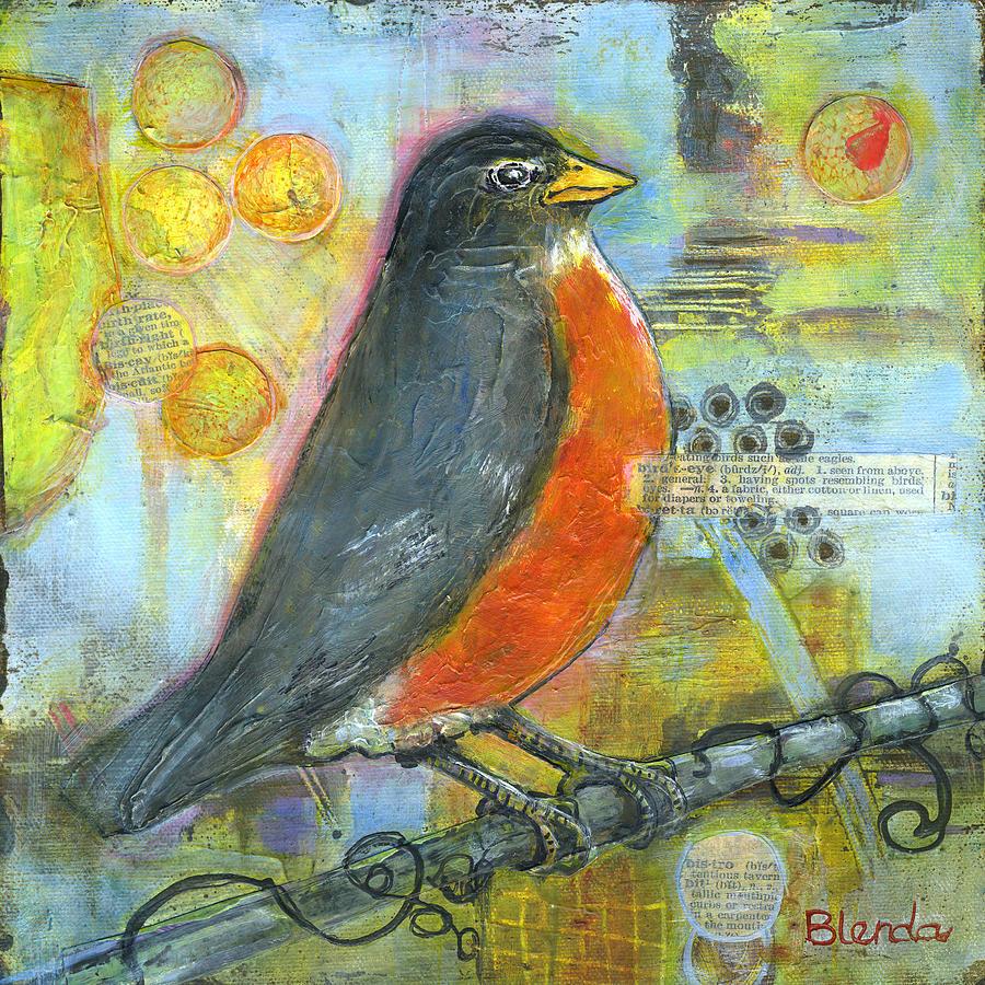 b3310804a09 Animal Painting - Bird Print Robin Art by Blenda Studio