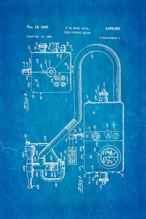 Doctor Photograph - Bird Respirator Patent Art 1962 Blueprint by Ian Monk