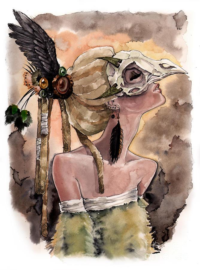 Bird Skull Painting - Bird Skull Mask by Carla Wyzgala