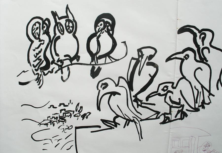 Vulture Painting - Bird Talk by Godfrey McDonnell