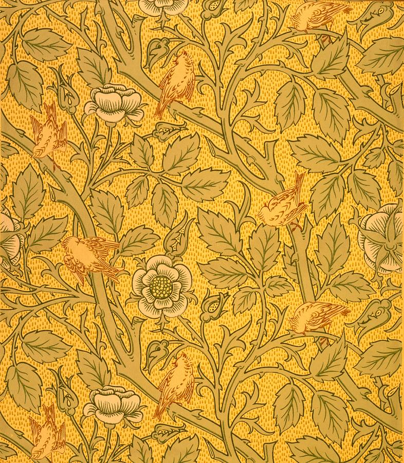Bird Wallpaper Design Tapestry  Textile by William Morris