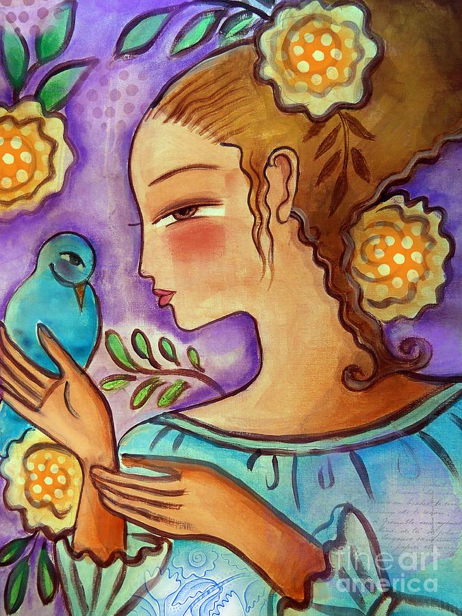 Flowers Mixed Media - Birdie by Elaine Jackson