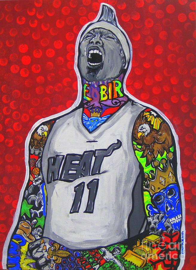 Miami Heat Painting - Birdman by Gary Niles