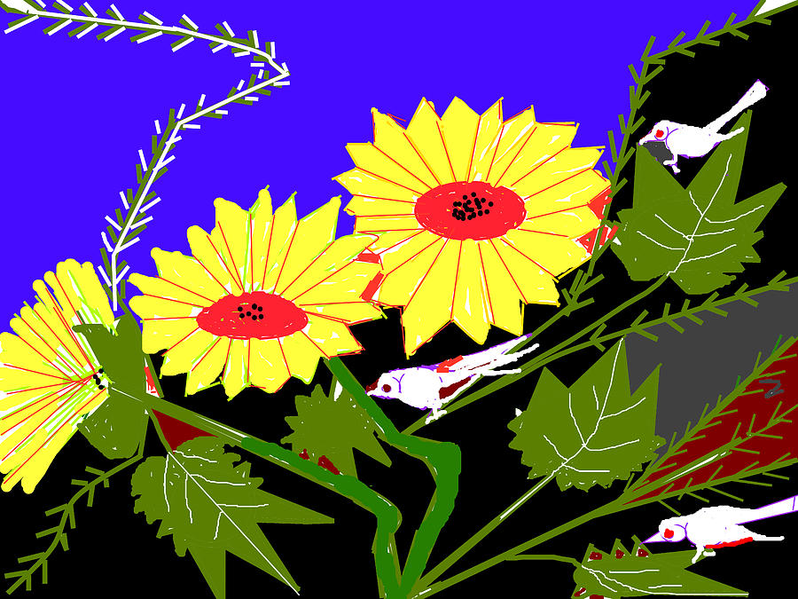 Still-life Portraits Digital Art - Birds And Leaves by Anand Swaroop Manchiraju