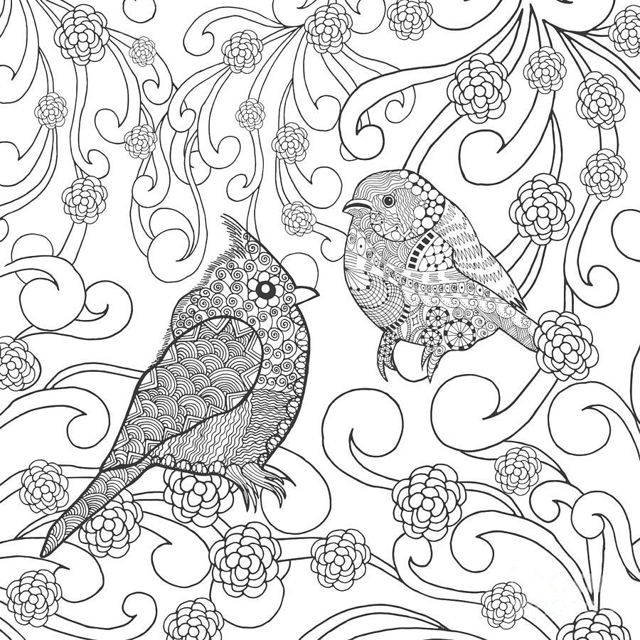 Symbol Digital Art - Birds Coloring Page. Animals. Hand by Palomita