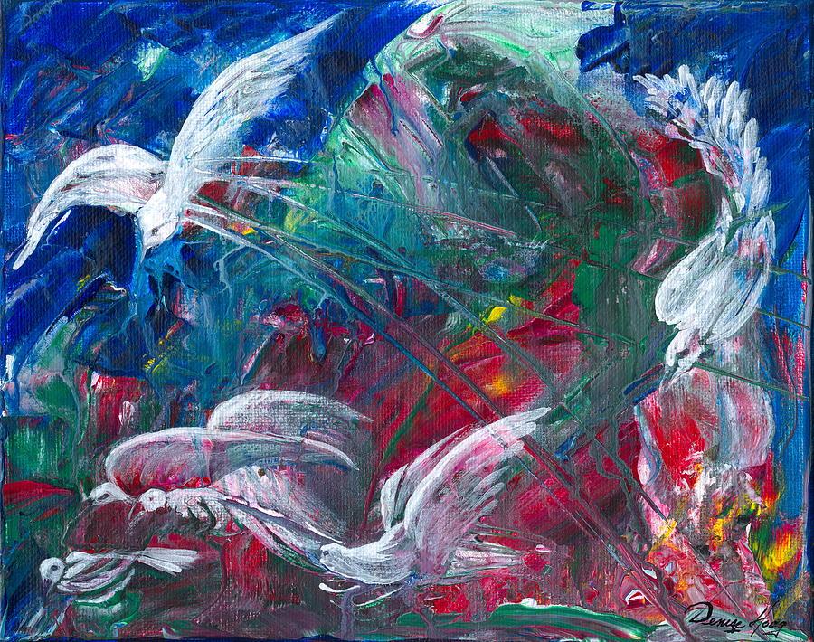 Birds Painting - Birds Emerging by Denise Hoag