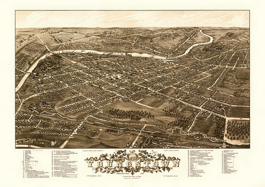 Map Drawing - Birds-eye View Of Youngstown Ohio 1882 by Mountain Dreams