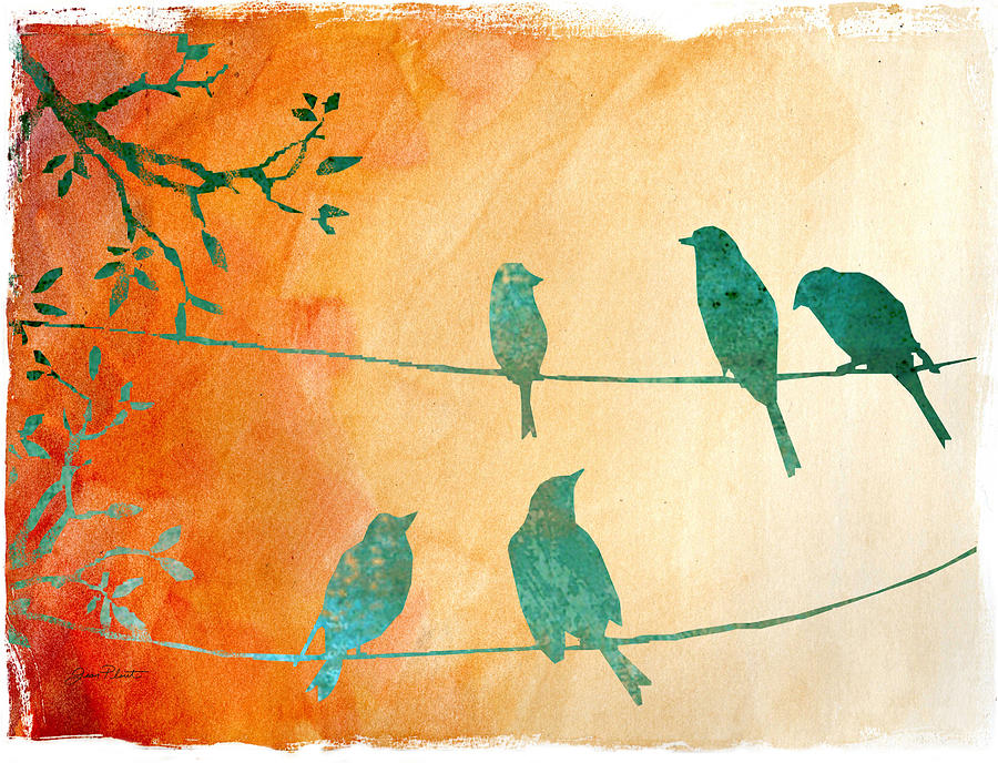 Birds Digital Art - Birds Gathered On Wires-5 by Jean Plout