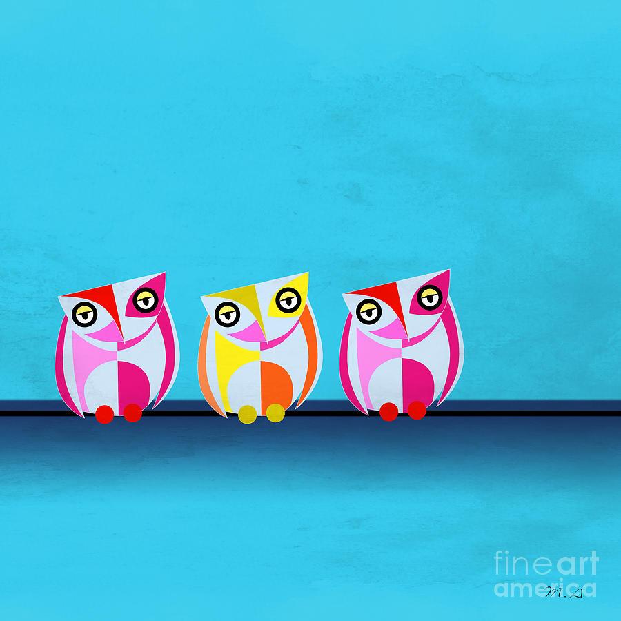 Owl Painting - Birds In Blue  by Mark Ashkenazi