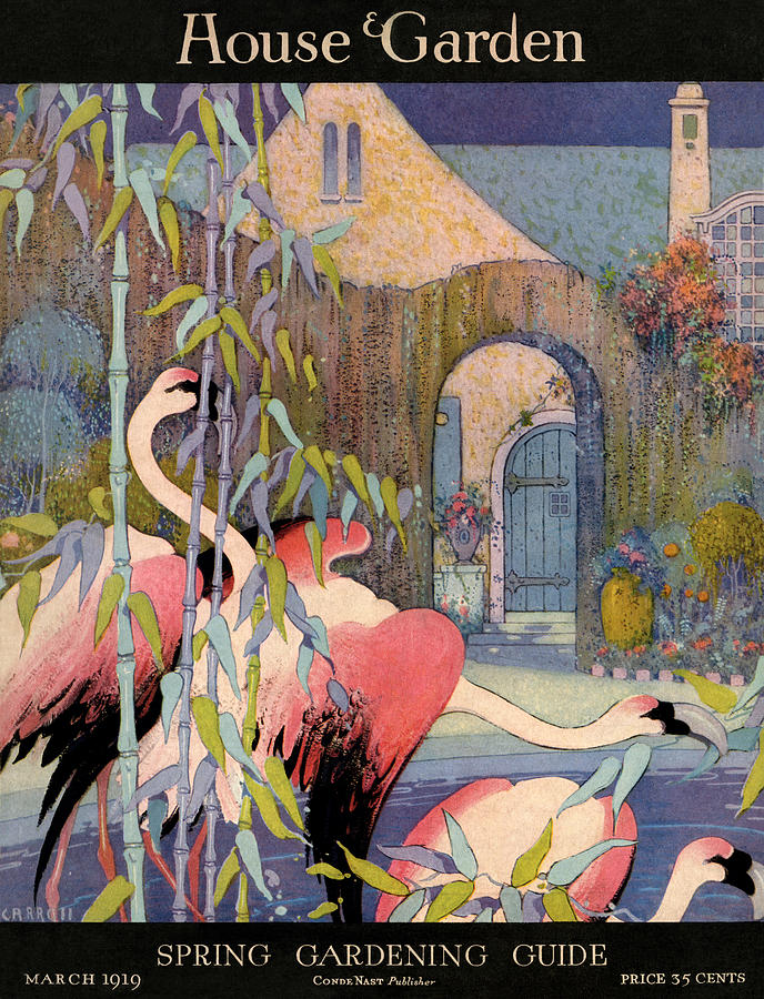 House and Garden Cover Featuring Flamingos in Front of an Archway Painting by L V Carroll