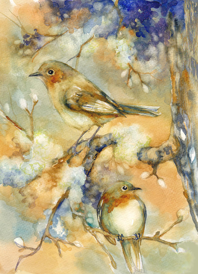 Birds Mixed Media - Birds In Mossy Branches by Peggy Wilson