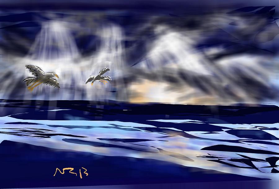 Seascape Digital Art - Birds In The Light by Nancy Good