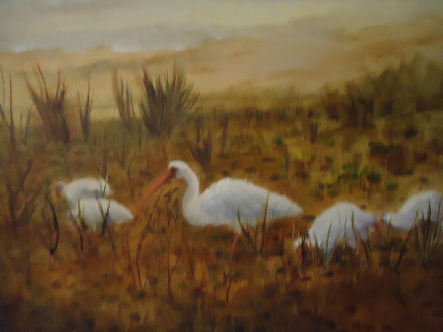 Landscape Painting - Birds In The Marshes by Betty Pimm