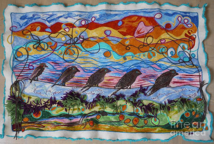 Wool Painting - Birds Of A Feather 1 by Heather Hennick