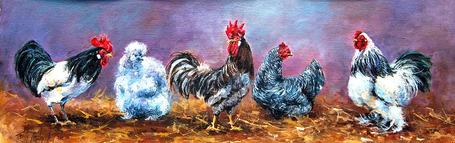 Cockerel Painting - Birds Of A Feather by Jacinta Crowley-Long