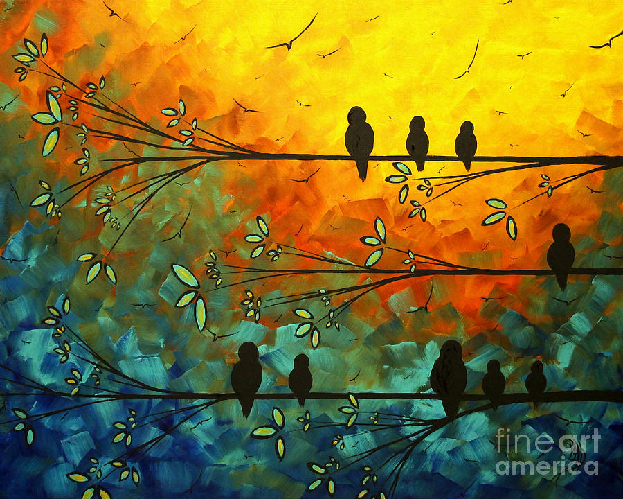 Painting Painting - Birds Of A Feather Original Whimsical Painting by Megan Duncanson
