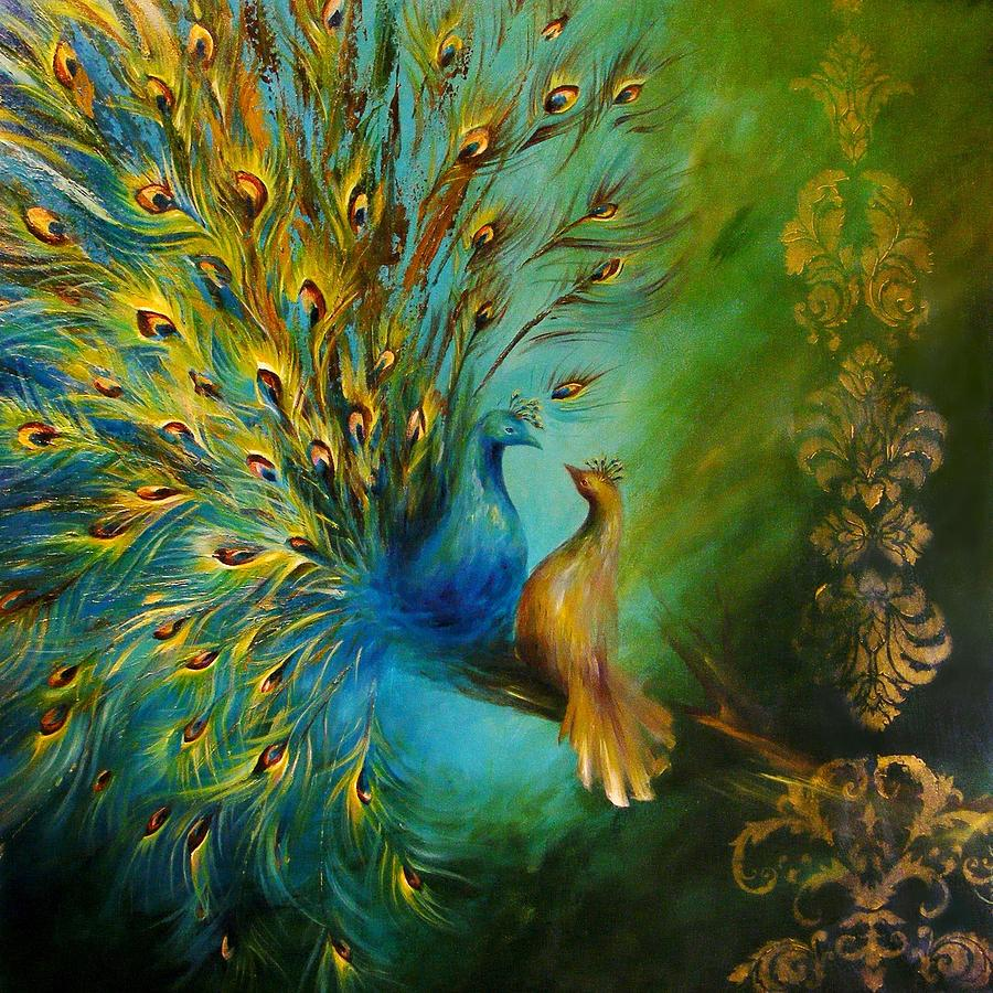 Birds Of A Feather Peacocks 3 Painting By Dina Dargo