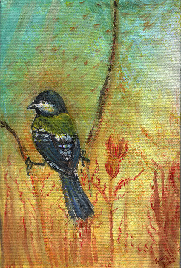 Bird Painting - Birds Of A Feather Series3 In Autumn by Remy Francis