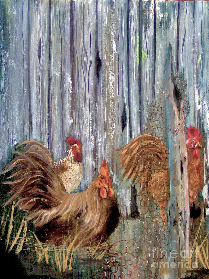 Chicken Painting - Birds Of A Feather by Sharon Burger