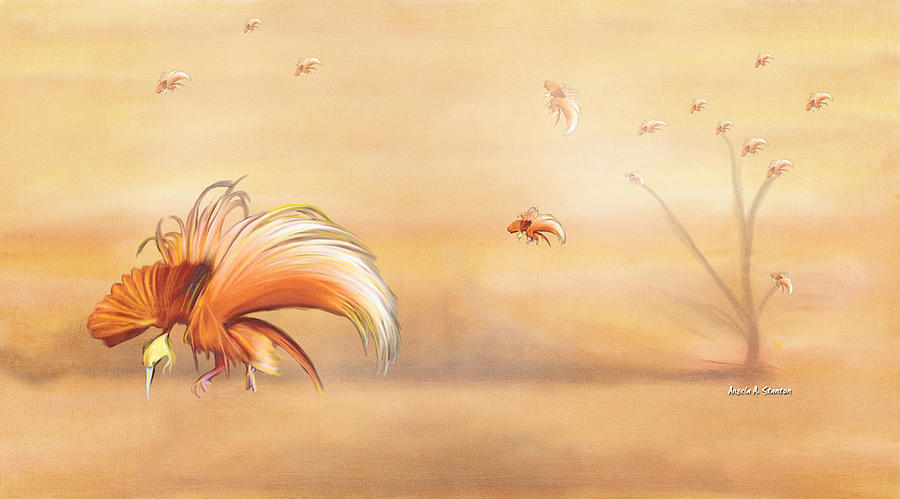 Birds Of Paradise Painting - Birds Of Paradise In The Fog by Angela Stanton