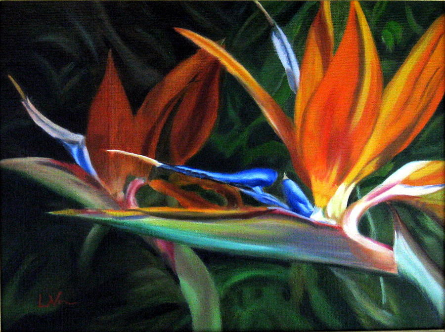 Flower Painting - Birds Of Paradise by LaVonne Hand