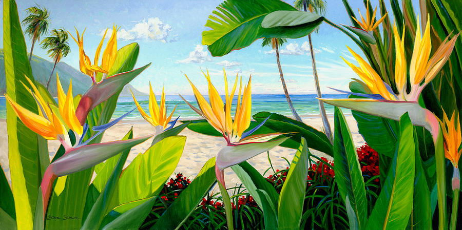 Birds Of Paradise Painting - Birds Of Paradise by Steve Simon