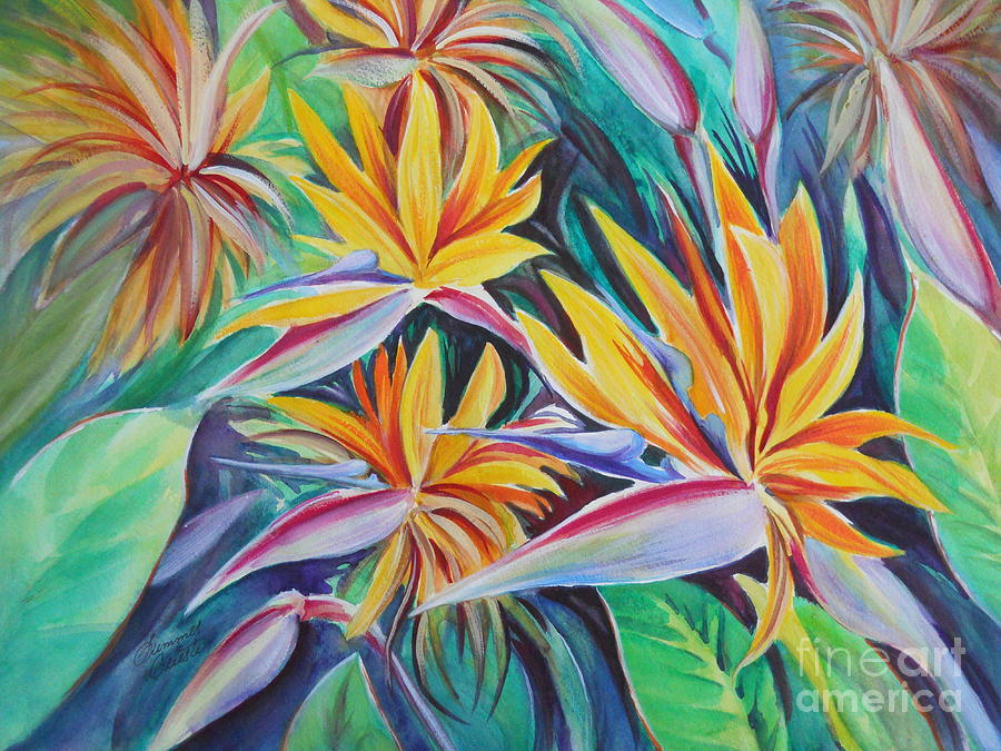 Birds Of Paradise Painting - Birds Of Paradise by Summer Celeste