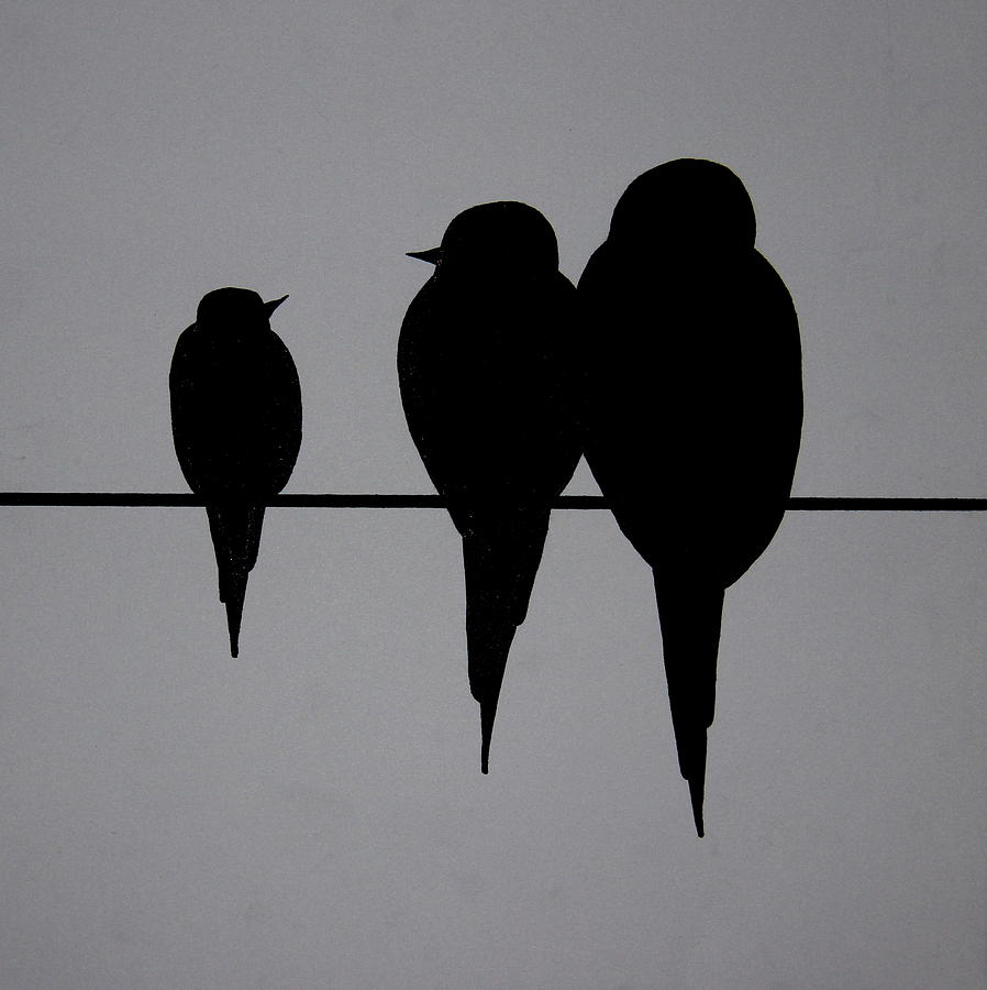 Birds On A Wire Painting by Jacob Bentzinger