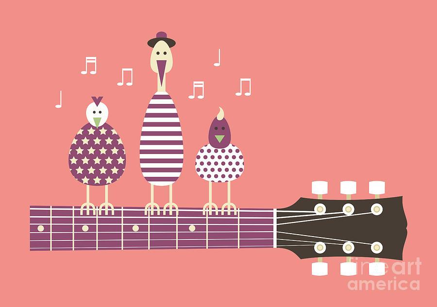 Symbol Digital Art - Birds Sing To The Guitar Neck, Vector by Ladislav Krajca