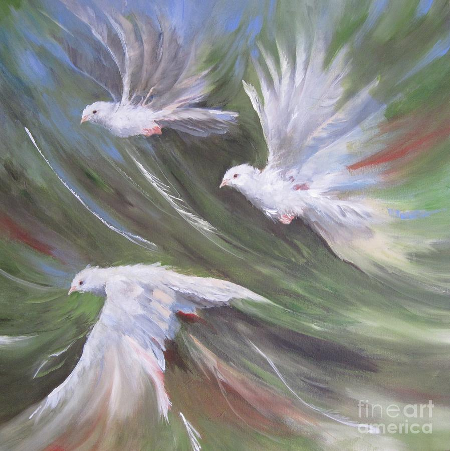Dove Birds Painting - Birds Three by Paula Marsh