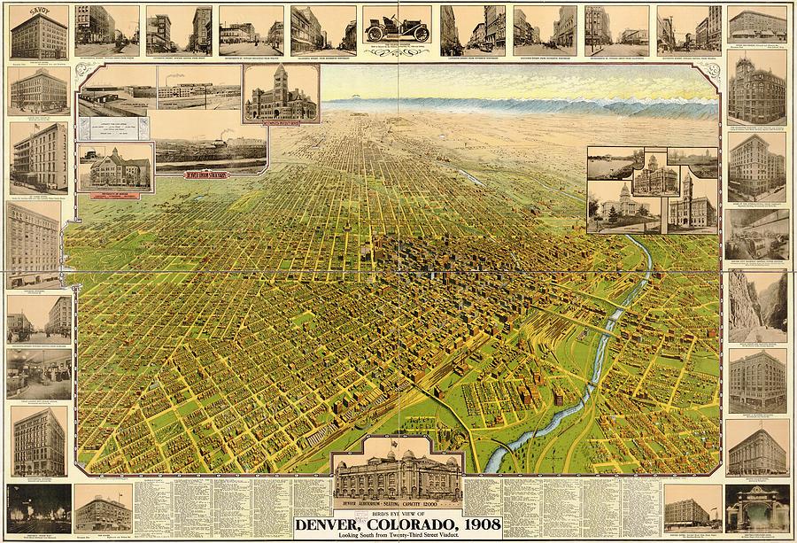 Birdseye Map Of Denver Colorado - 1908 Drawing