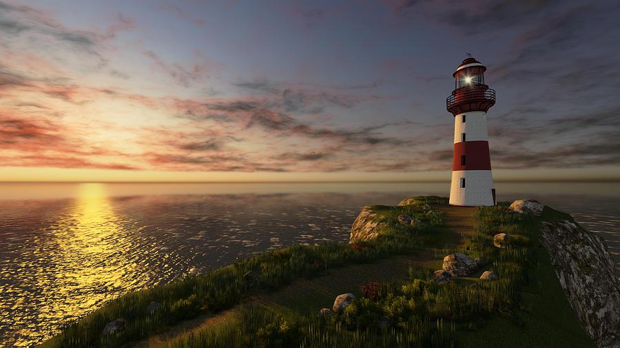Lighthouse Digital Art - Birth Of Light by Marina Likholat
