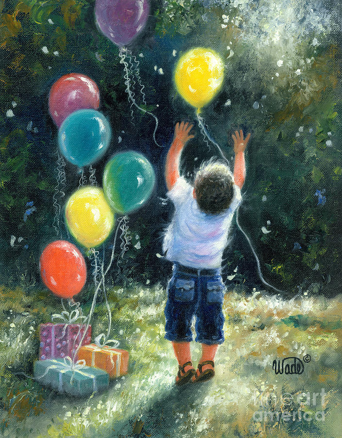 Little Boy Painting - Birthday Boy by Vickie Wade