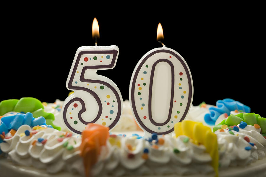 Birthday Cake With Candles That Say 50 Photograph By Mike Kemp