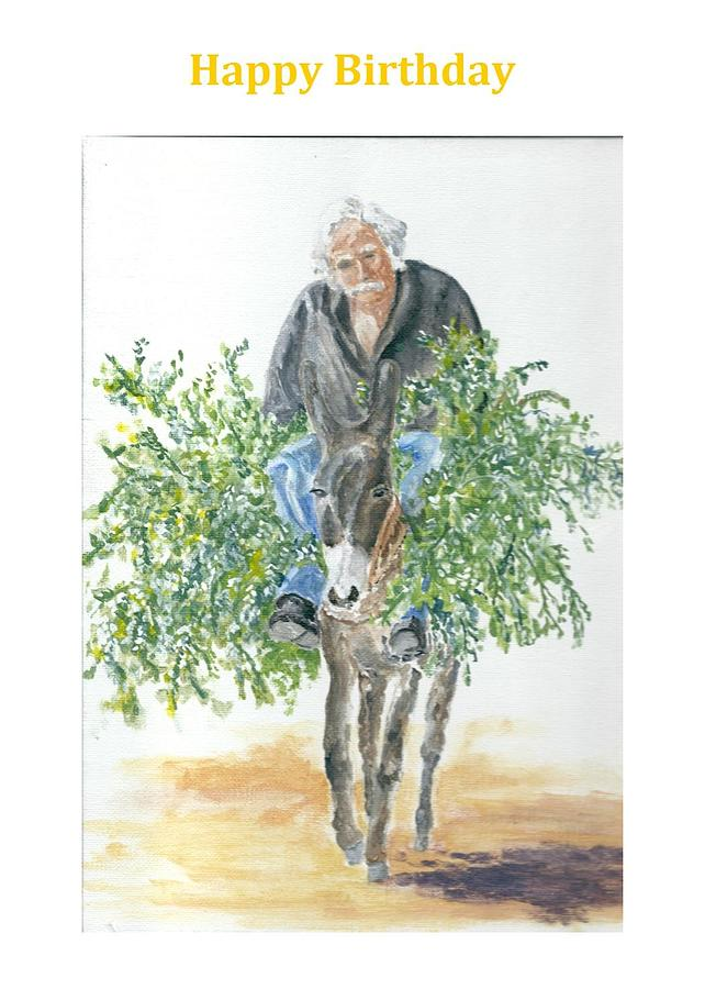 Birthday Card With Cretan Man And Donkey Painting By David Capon