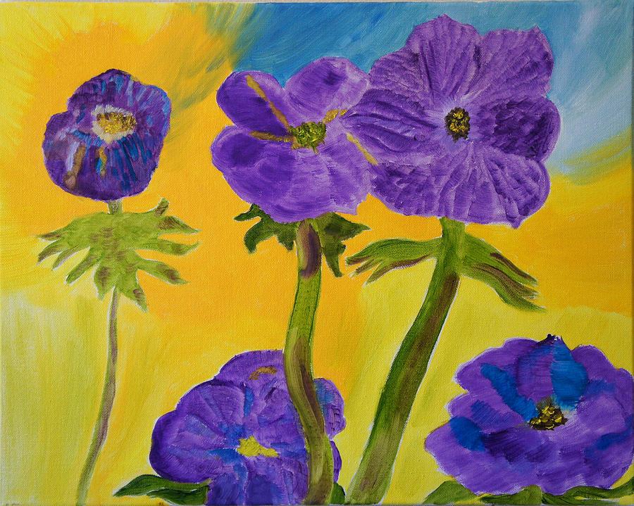 Purple Painting - Birthday Memory by Meryl Goudey