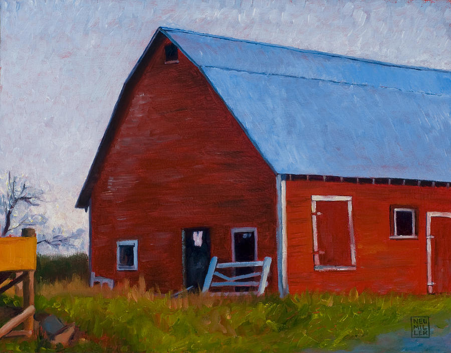 Farm Painting - Bishop Barn by Stacey Neumiller