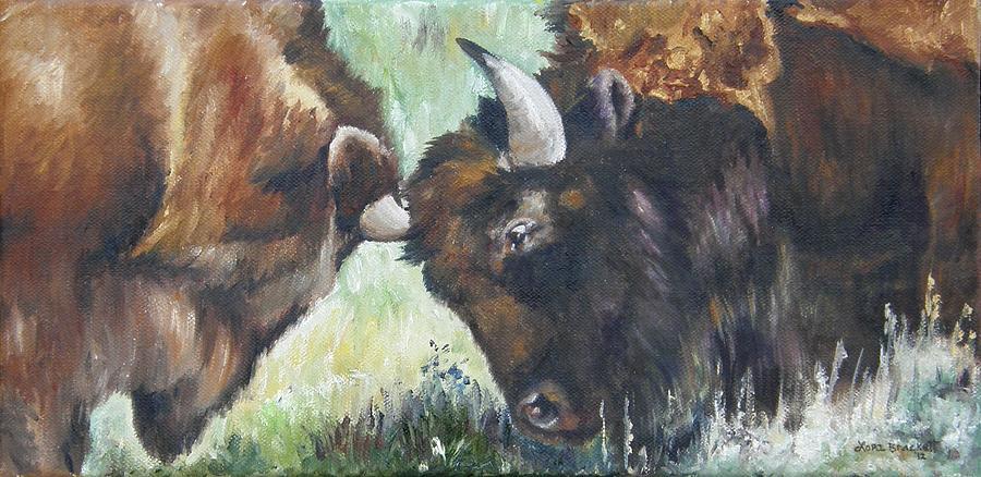 American Buffalo Painting - Bison Brawl by Lori Brackett