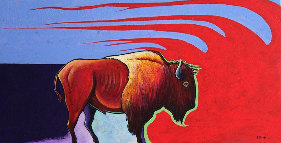 Bison Painting - Bison In The Winds Of Change by Joe  Triano
