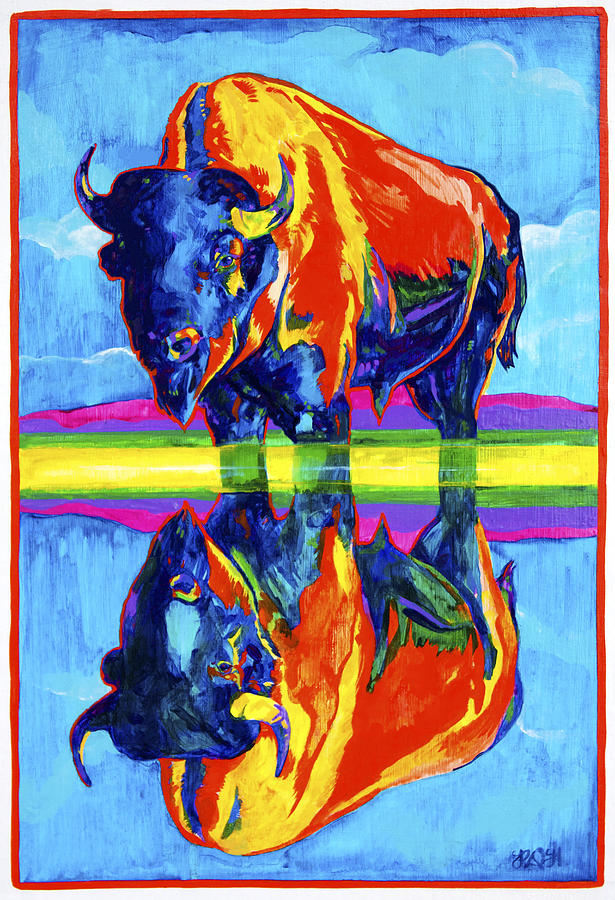 Bison Painting - Bison Reflections by Derrick Higgins