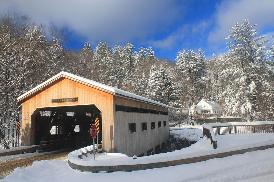 Covered Bridge Photograph - Bissell Covered Bridge In Winter by John Burk