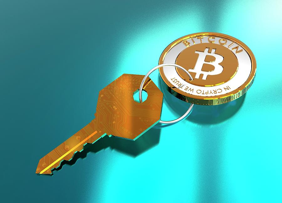 3 Dimensional Photograph - Bitcoin And Key by Victor Habbick Visions/science Photo Library